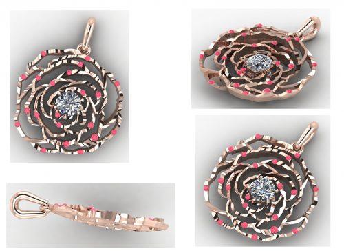 Custom design flower pendant CAD rendering